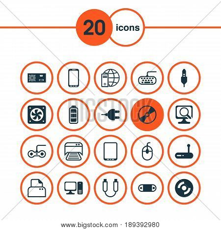 Computer Icons Set. Collection Of Computer Ventilation, Computer Keypad, Cd-Rom And Other Elements. Also Includes Symbols Such As Accumulator, Wifi, Internet.