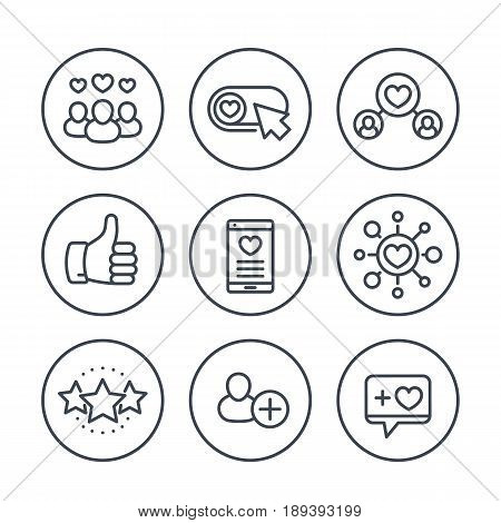 Likes, followers, hearts, rating line icons in circles over white, eps 10 file, easy to edit
