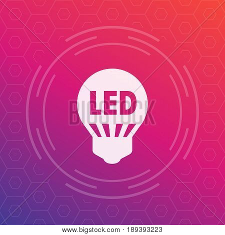 led light bulb icon, energy saving technology vector sign, eps 10 file, easy to edit