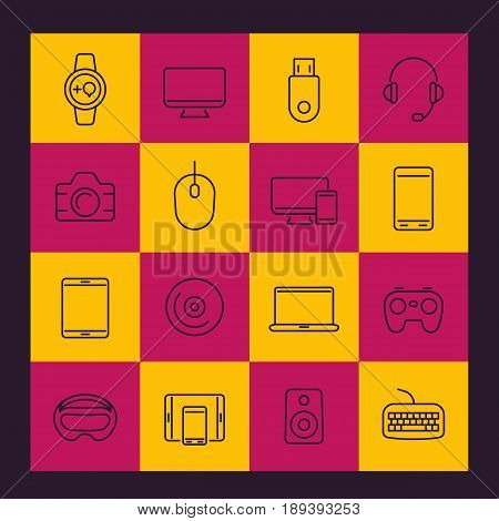 Modern gadgets line icons pack, monitor, gamepad, keyboard, mouse, laptop, smart watch, tablet, wearable devices, electronics