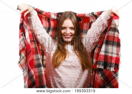 Woman Wearing Warm Scarf Warming Herself Up