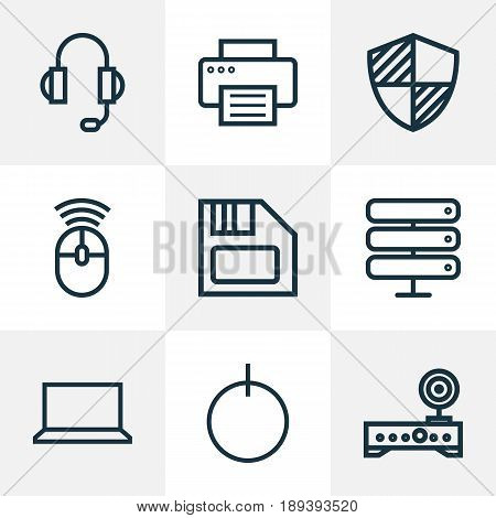 Hardware Outline Icons Set. Collection Of Peripheral, Earphones, Datacenter And Other Elements. Also Includes Symbols Such As Storage, Firewall, Start.