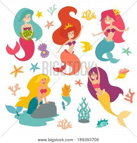 Mermaid girls vector illustration. Cute cartoon card with little mermaid. Under the sea. Pearl in the shell and starfish isolated on white. Sticker set cartoon style