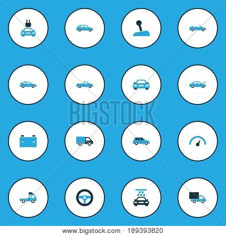 Auto Colorful Icons Set. Collection Of Steering Wheel, Auto Hood, Lorry And Other Elements. Also Includes Symbols Such As Accumulator, Wash, Lever.
