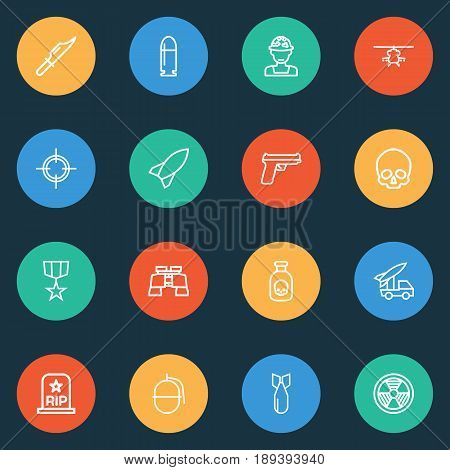Battle Outline Icons Set. Collection Of Bombshell, Rip, Bomb And Other Elements. Also Includes Symbols Such As Soldier, Order, Knife.
