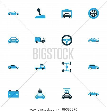 Auto Colorful Icons Set. Collection Of Electric Car, Gear Lever, Sedan And Other Elements. Also Includes Symbols Such As Tire, Car, Truck.