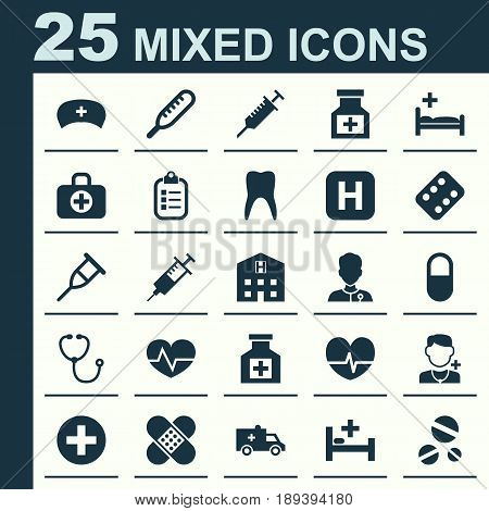 Drug Icons Set. Collection Of Stand, Beating, Drug Elements. Also Includes Symbols Such As Stethoscope, Aid, Reliever.