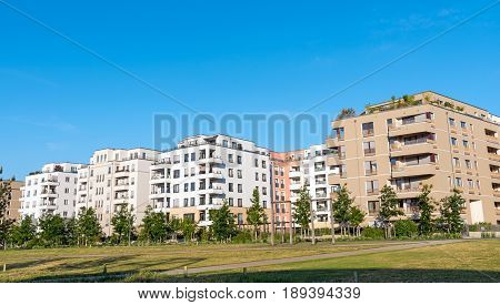Development area with modern apartment houses in Berlin, Germany
