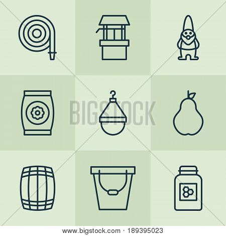 Gardening Icons Set. Collection Of Pail, Cask, Hanger And Other Elements. Also Includes Symbols Such As Hanger, Pail, Pear.