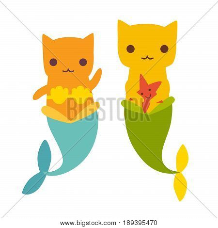 Mermaid cat vector illustration. Cute cartoon card with little purrmaid. Cats mermaid under the sea. Isolated on white