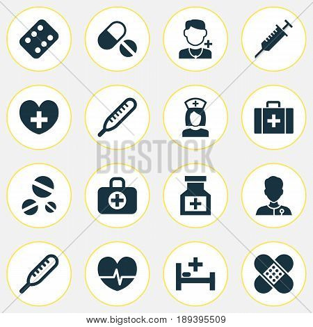 Antibiotic Icons Set. Collection Of Rhythm, Heal, Mercury And Other Elements. Also Includes Symbols Such As Cure, Heartbeat, Peck.