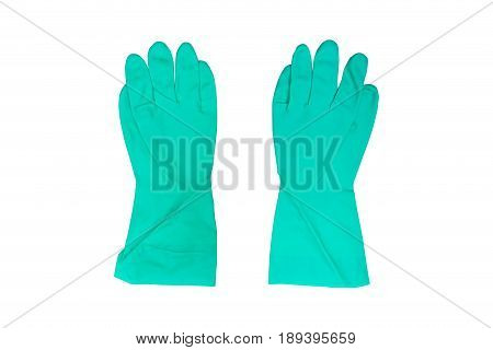 Green household protective rubber gloves or chemical gloves Isolated on white background with clipping path...