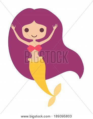 Mermaid girl vector illustration. Cute cartoon card with little mermaid under the sea. Isolated on white