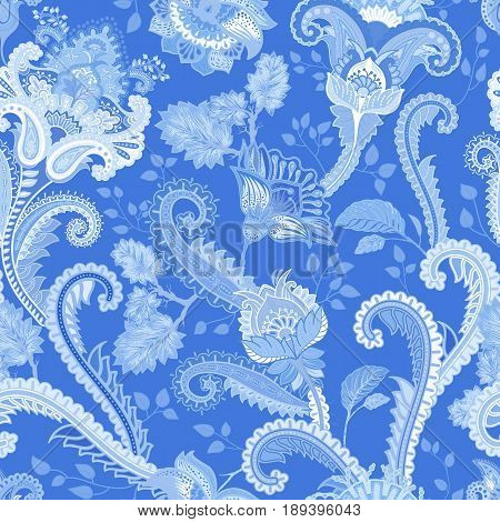Paisley floral seamless pattern. Indian ornament. Vector decorative flowers and Paisley. Ethnic style
