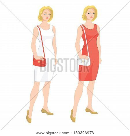 Vector illustration of young blonde woman in cocktail dress with handbag on white background