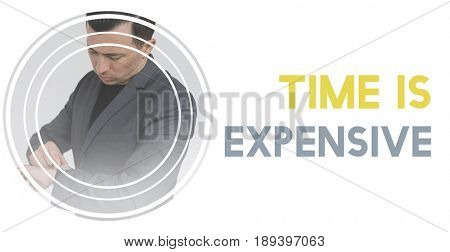 Time Valuable Word Graphic on Waiting Businessman Background