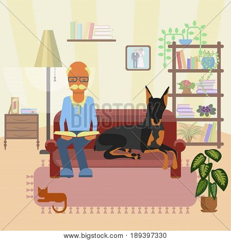 A senior man with dog, sits at sofa and reads a book in his living room. Vector illustration epa 10