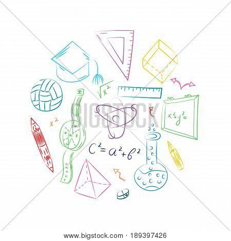 Colorful Hand Drawn School Symbols. Children Drawings of Ball, Books,Pencils, Rulers, Flask, Compass, Arrows Arranged in a Circle. Vector Illustration.