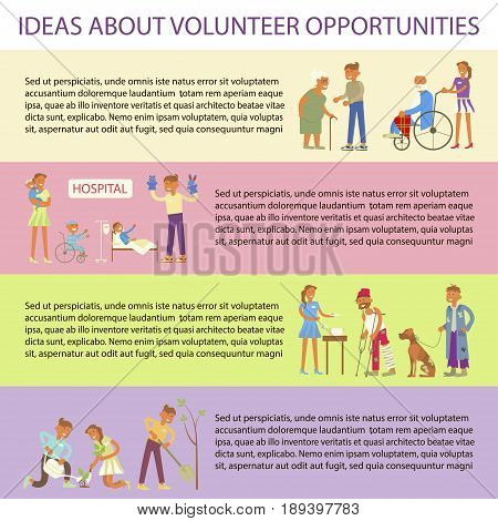 Volunteers characters in flat design. Young people planted plants, trees,  helping ill kids and seniors, feeding homeless men. Place for you text.  Vector illustration eps 10