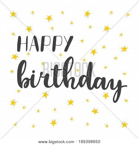 Happy Birthday Greeting Card. Greeting Logotype For Poster, Flyer, Postcard, Banner Or Invitation. C