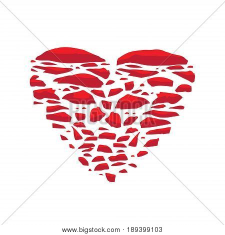 Broken heart. Vector icon illustration concept of love. Template for Valentine's day. Vector illustration drawn by hand.