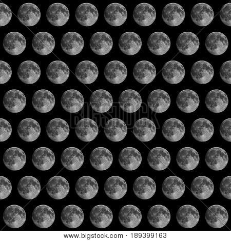 Full moon seen with an astronomical telescope seamless tileable pattern useful as a background