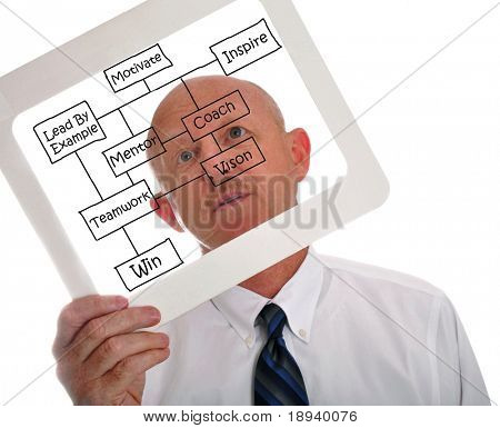 Male executive holding business success chart