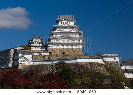 Himeji castle historic landmark during autumn seasdon Kansai Japan
