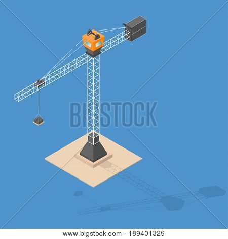 Industrial construction crane. Isometric crane with bricks shadow standing on sand. Vector