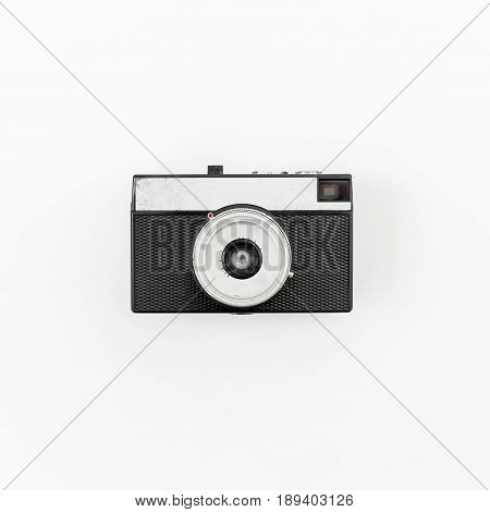 Old retro camera. Flat lay, Top view