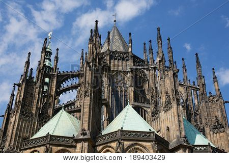 Unusual upward view of the St. Vitus Cathedral in the area of the Prague Castle