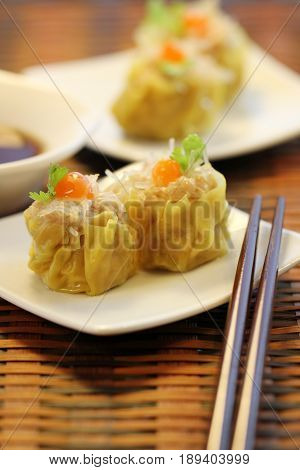 Chinese Steamed Pork and Glass noodles Dumplings, Dim Sum , food stylish, menu decoration, backgrounds, wallpaper, attractive,