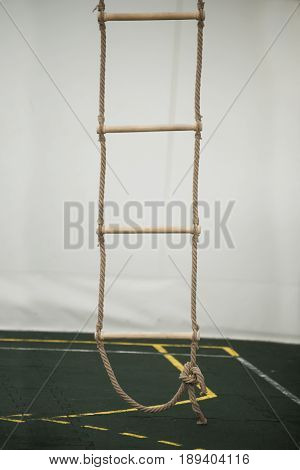 Stairs Of Rope For Climbing In Sport School Gym Hall