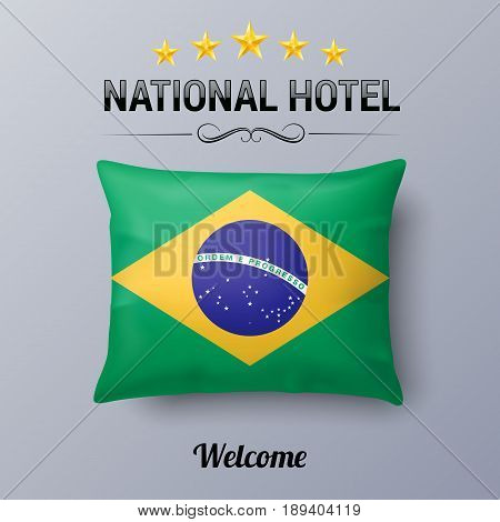 Realistic Pillow and Flag of Brazil as Symbol National Hotel. Flag Pillow Cover with Brazilian flag