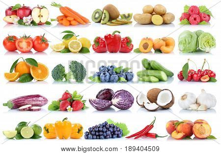 Fruits And Vegetables Collection Isolated Orange Apple Berries Grapes Tomatoes Fresh Fruit