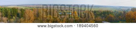 Panoramic fall landscape made near Vorobyovo village Kaluga oblast Russia. Images for this panorama were shot from Vorobyovo sanatorium.
