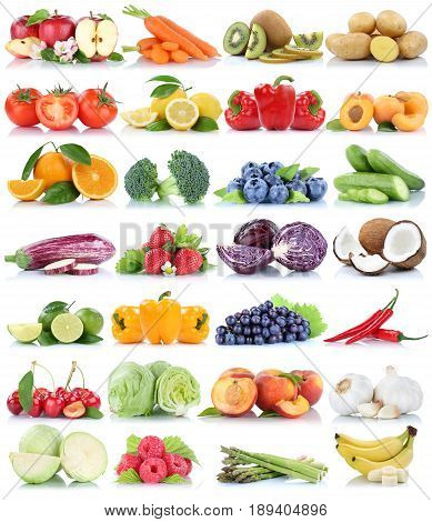 Fruits And Vegetables Collection Isolated Orange Apple Grapes Cucumber Tomatoes Bananas Lettuce Fres