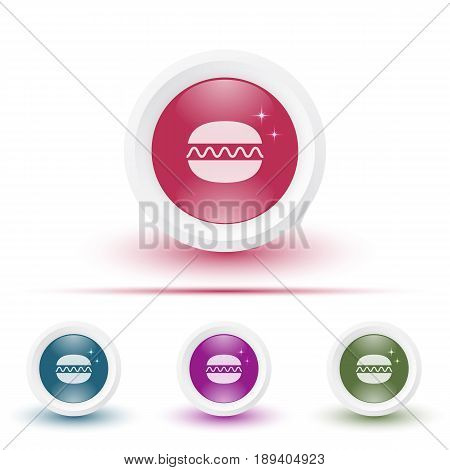 Vector set of illustrations of glossy icons or buttons with colorful shadows. Template with burger pictogram.