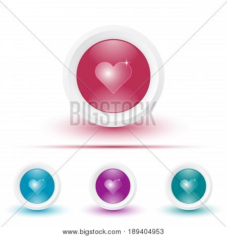 Vector set of illustrations of glossy icons or buttons with colorful shadows. Template with shiny heart pictogram.