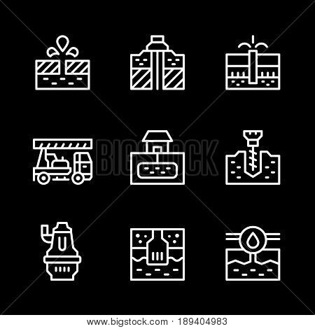 Set line icons of water bore isolated on black. Vector illustration