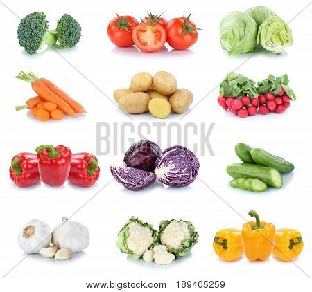Vegetables Carrots Tomatoes Cucumber Bell Pepper Lettuce Vegetable Food Isolated