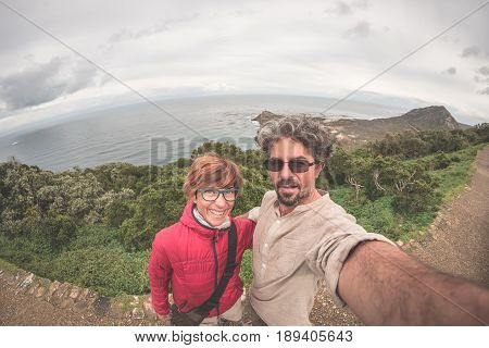 Couple Taking Selfie At Cape Point, Table Mountain National Park, Scenic Travel Destination In South