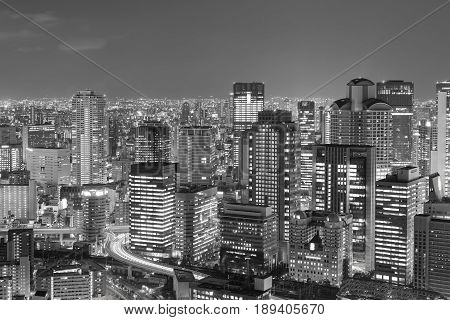 Black and White Osaka city downtown from Umeda sky building night view Japan