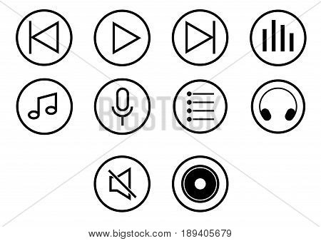 Icon set of player media button, iconic symbol on white background. Vector Iconic Design.