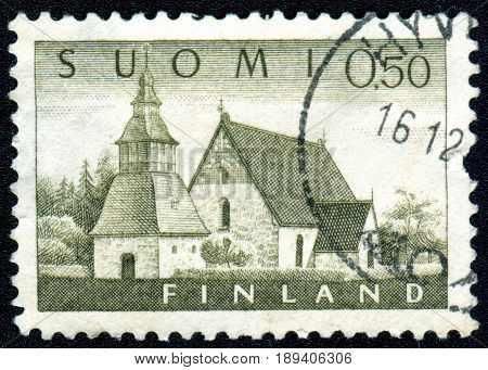 MOSCOW RUSSIA - 03 June 2017: A Postage stamp printed by Finland shows Finnish church