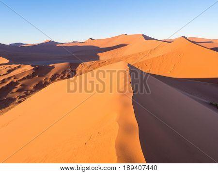 Sunrise at Dune 45 in the Sossusvlei area of the Namib Desert in Namibia.