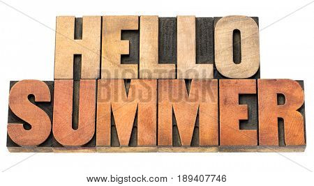 hello summer greetings  -  word abstract in wood type isolated on white