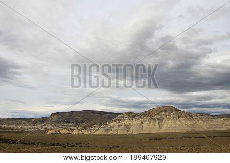 Eroded mountain landscape along ruta 40, through the Patagonian desert in Patagonia, Argentina