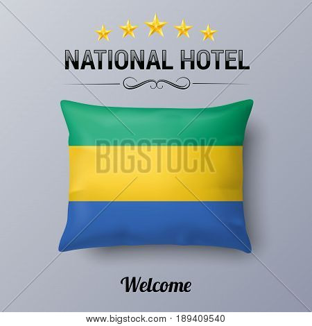 Realistic Pillow and Flag of Gabon as Symbol National Hotel. Flag Pillow Cover with Gabonese flag