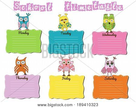 School timetable with colorful owls. Vector illustration.